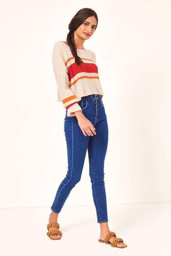 Calça Jeans com Braguilha Botão